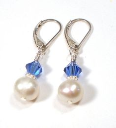 September Birthstone Earrings - Freshwater Pearl and Sapphire Blue Crystal Sterling Silver on Etsy, $12.00: Freshwater Pearl, Sapphire Blue, Bead Craft, Blue Crystals, Sterling Silver, Birthstone Earrings, Jewelry Ideas, Craft Ideas