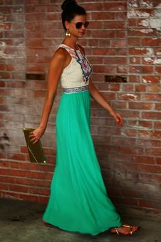 Love the aqua color! Cute maxi dress, not sure about the top though.
