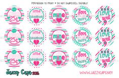 """Cute Valentine 1"""" Bottle Cap Images by Jazzy Caps"""