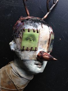 Morgan Brig Sculpture where I create birds, beasts and human like creatures. Here you will find mixed media sculptures packed with found objects, a playfulness and day to day emotion. Creepy Art, Creepy Dolls, Maquillage Halloween, Masks Art, Assemblage Art, Weird And Wonderful, Wall Sculptures, Oeuvre D'art, Mixed Media Art