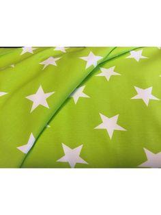 Bomuldsjersey - limegrøn med hvid stjerne