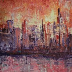 Vibrant colors! Skyline painting by FIONA MARES, orange and pink give this abstract art painting a unique vibration that is catching your attention! Painting Fiona Mares, Artist from Egypt, Hurghada. More here: https://m.facebook.com/FionaMaresGallery/