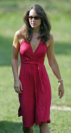 Kate in a fabulous red sundress. Will's grandma swears I look like Kate.