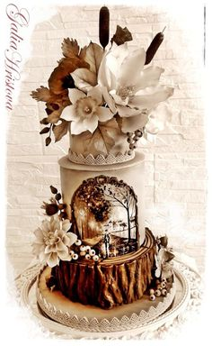 Hand painted and moulded all edible Autumn in black and white colors - Cake by Galia Hristova – Art Studio Amazing Wedding Cakes, Amazing Cakes, Pretty Cakes, Beautiful Cakes, Double Barrel Cake, Nature Cake, Bolo Floral, Woodland Cake, Wedding Dress Cake