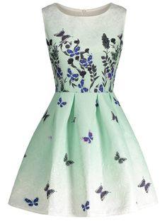 Sleeveless Butterfly Print Skater Dress - Clover S Butterfly Print Dress, Butterfly Pattern, Skater Dress, Prom Dress, Dresser, Monarch Butterfly, Blue Butterfly, Vintage Butterfly, Polyvore
