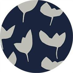 Large Tulips on Navy Fabric - Hemma by Lotta Jansdotter for Windham Fabrics - Emmi in Denim - Fabric Textile Design, Fabric Design, Scandinavian Fabric, Navy Fabric, Denim Fabric, Quilt Material, Windham Fabrics, Modern Fabric, Cotton Quilts