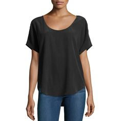 Equipment Etta Silk Tee (£37) ❤ liked on Polyvore featuring tops, t-shirts, true black, short t shirt, relaxed fit tee, scoop neck tee, short tops and relaxed fit tops