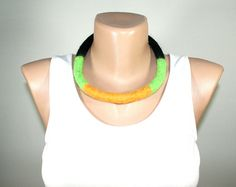 Felted NECKLACE  OOAK ETHNIC Necklace Black Green Yellow by Filtil, $36.00