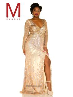 c3da0d597f1 Mac Duggal Fabulouss 4367F is a plus size prom dress with long sleeves and  high side. French Novelty