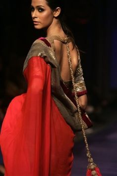 Beautiful Red, Gold & Purple Saree Ensemble by Manish Malhotra @ManishMalhotra1 http://www.manishmalhotra.in/