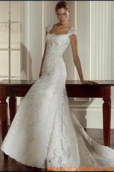 Robe de mariée sirène satin dentelle dos nu
