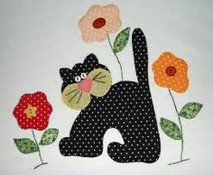 Risultati immagini per desenhos de gatos para patch aplique Wool Applique, Applique Patterns, Applique Quilts, Applique Designs, Embroidery Applique, Quilt Patterns, Machine Embroidery, Sewing Patterns, Patch Quilt