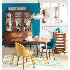 Sedia in velluto grigio antracite e legno massello di betulla Mauricette | Maisons du Monde