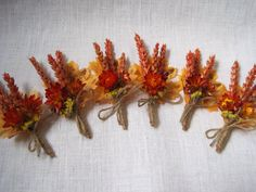 Autumn dried wheat and flower  boutonniere ,set of -6 ,wedding boutonniers ,rustic wedding decor ,vintage country orange and beige wedding on Etsy, $32.99