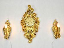 Оригинальный шведский резной & позолоченные настенные часы c1950 с двумя Электрический фары