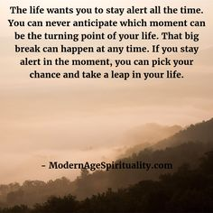 The life wants you to stay alert all the time. You can never anticipate which moment can be the turning point of your life. That big break can happen at any time. If you stay alert in the moment, you can pick your chance and take a leap in your life. Enlightenment Quotes, The Turning Point, Want You, Your Life, Take That, In This Moment, Shit Happens, Big, I Want You