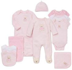 Little Me Sweet Bear 3-Piece Bib & Burp Cloth Set #babygirl, #layette, #dillards, #promotion