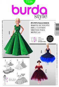PATRÓN de vestido / ropa de muñeca estilo Barbie BURDA Nº 7336 NUEVO