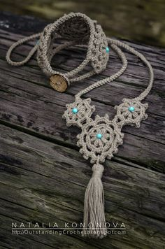 Collar y pulsera.#Crochet Boho Bracelet & Necklace.