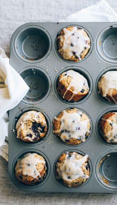 Whole Wheat Blueberry Muffins - an easy breakfast win! The tops get nice and puffy, the ingredients are wholesome, and the flavor is perfectly sweet.