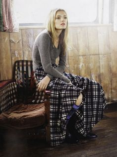 Long plaid skirt.