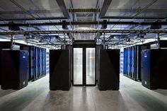 Entrance to a hot aisle in a data hall at Facebook's Altoona, Iowa, data center…