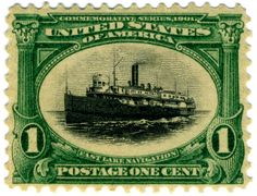 """1-cent 1901 commemorative United States postage stamp, depicting """"Fast Lake Navigation"""". Part of the 1901 Pan-American Exposition commemorative series. (Wiki Commons)"""