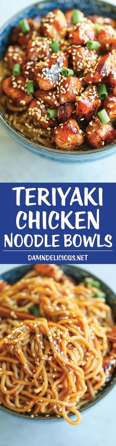 asian recipes Teriyaki Chicken Noodle Bowls - A quick fix dinner made in less than 30 min. And the teriyaki sauce is completely homemade and way better than store-bought! Teriyaki Chicken Noodles, Teriyaki Sauce, Ramen Noodles, Kimchi Noodles, Teriyaki Bowl, Vermicelli Noodles, Spaghetti Noodles, Asian Noodles, Pasta Dishes