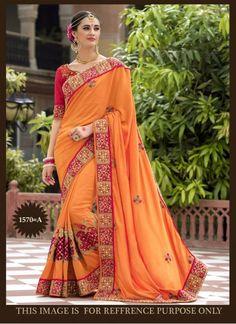Buy Two Tone Silk Georgette Orange & Red Heavy Saree