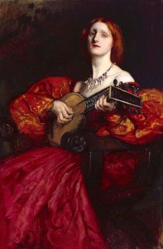 ♪ The Musical Arts ♪ music musician paintings - A Lute Player | Edwin Austin Abbey (1852 – 1911)