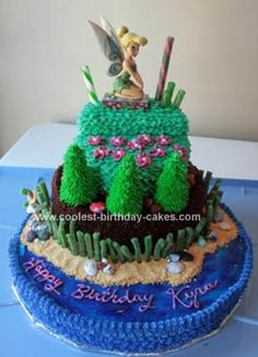 Homemade Tinkerbell Birthday Cake: I made this Tinkerbell Birthday Cake for my niece! She absolutely loved it! The 1st layer is 12 round cake. The 2nd layer is an 8 round cake. The 3rd layer