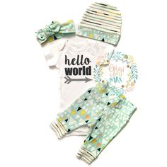 Hi there! Welcome to Gigi and Max! This handmade outfit is beyond perfect for any sweet baby on the way. Pants, beanie hat, and headband are made out of a super soft stretchy knit. The onesie professi
