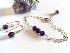 Amethyst & sterling silver adjustable bracelet & optional earrings. Handmade. https://img0.etsystatic.com/157/2/8965783/il_fullxfull.1115082832_aw61.jpg #etsymntt #womensgift #valentinegift