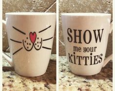 Coffee Mug White Cat Whiskers hs0224 by humanitysource on Etsy