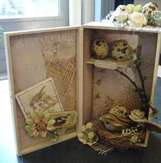 Altered Cigar box in Spring theme...its official! I'm redoing this idea as a shadow box for Isabella!