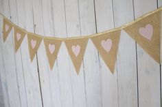 Gold & Pink Burlap Pennant Bunting Banner for Wedding, Reception, Bridal Shower, Baby Shower, Nursery or Photo Prop by MsRogersNeighborhood Etsy shop