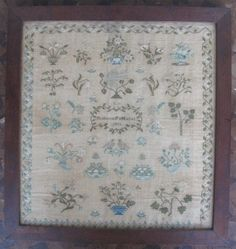 Lovely Signed & Framed Sampler by  Rebecca S. Mather; Pennsylvania Estate; 1833