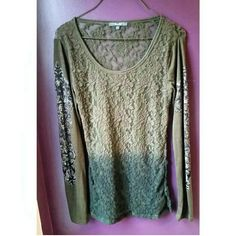 Miss Me ombre lace top sz Small Lightly worn ombre green lace top by Miss Me sz small, can be worn as medium. Embroidered design down sleeves. See through lace back. Beautiful greens, I'm in love with it, just changing up my wardrobe a bit! Miss Me Tops Tees - Long Sleeve