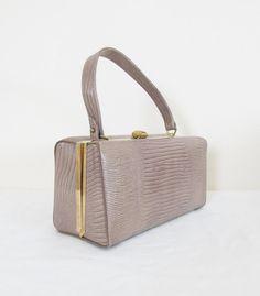 721be369a704 Vintage 1960 s Faux Snakeskin Box Purse Handbag