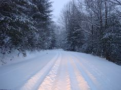 Snow covered road off mountain in Brevard, North Carolina. Brevard North Carolina, Snow Images, Snow Scenes, Mountain, Ice, Holidays, Outdoor, Outdoors, Holidays Events