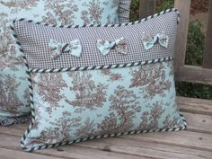 Toile Pillow Cover Deluxe French Country by ComfortsofHomeDecor #diypillowcoversquilt