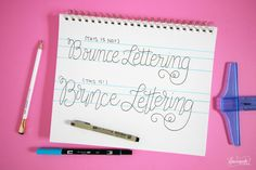 How to Do Bounce Lettering. What is Bounce Lettering? Find out in this lettering tutorial and grab the FREE Bounce Lettering Worksheet to… Hand Lettering 101, Hand Drawn Fonts, Doodle Lettering, Creative Lettering, Lettering Tutorial, Brush Lettering, Calligraphy Tutorial, How To Write Calligraphy, Calligraphy Alphabet