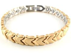 "Magnetic Bracelet with Gold Solid Stainless Steel Links Style #31 - 8"" by Magnet Jewelry Store. $29.95. This bracelet is about 8 inches and will best fit a wrist that is about 1/2"" smaller. Can be resized downward if needed at most Jewelry or Watch Repair Shops.. Fashionable Solid Stainless Steel Magnetic Bracelet. Made & Sold only by Magnet Jewelry Store with Stainless Steel that will Not Tarnish.. Many Powerful Neodymium rare earth 3000 Gauss Magnets. Millions ..."