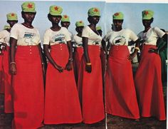 Women wearing militarized fashions in newly-formed Djibouti, between Somalia and Ethiopia, Africa, 1978