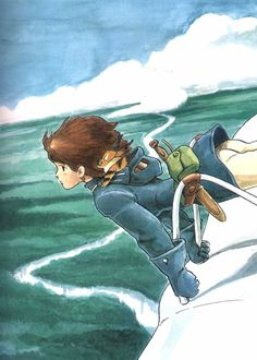 Nausicaa of the Valley of the Wind. Watercolor illustration by Hayao Miyazaki. Hayao Miyazaki, Totoro, Manga Anime, Nausicaa, Japanese Animated Movies, Art Vintage, Castle In The Sky, Ghibli Movies, Howls Moving Castle