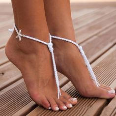 Pair of Chic Starfish Decorated Lace Up Barefoot Sandals For Women