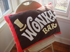 Wonka Bar Pillow...I want one and @Julie Bowden definitely needs one!