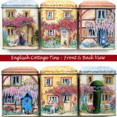 3 English Cottage Tins New Caddy Canister Storage Kitchen Ornament Gift Box