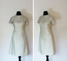 Vintage 1960s Dress - Ivory Silk Beaded A Line Mad Men Cocktail Party Formal 60s - Medium / Lrge