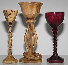 spalted birch and purpleheart goblets